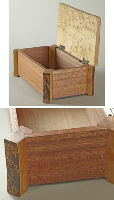 Keepsake box made with natural-edge cherry legs, mahogany sides, and bird's-eye maple top.