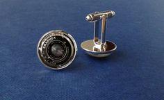 Vintage camera lens cufflinks, black camera cufflinks, camera lens jewelry, photographer gift, photo cufflinks, minimalistic, modern by Glassfulldreams on Etsy https://www.etsy.com/listing/222765349/vintage-camera-lens-cufflinks-black