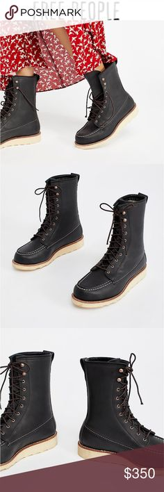 Red Wing Classic Moc Boot From free People .... usually wear 7 this said to size down 1/2 size which I did buy they were a tad too tight ... Free People Shoes Lace Up Boots