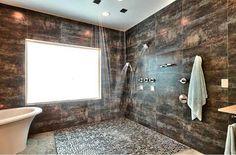 Contemporary Master Bathroom with Wall Tiles, Standard height, Rain shower, Handheld showerhead, Shower, Bathtub, can lights