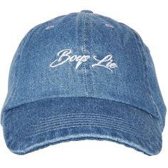 Topshop Boys Lie Denim Cap (885 RUB) ❤ liked on Polyvore featuring accessories, hats, denim, cap hats, topshop hats, embroidered caps, embroidered hats and denim hat