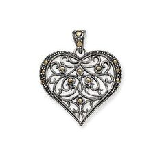 """""""Someone loves you,"""" says the heart-shaped necklace. The Sterling Silver Marcasite Heart Pendant (QP1273) is the perfect gift for a loved one: wife, mother, grandmother,sister. Every time it's worn, the wearer will light up with the remembrance of love and the face that goes with it.  Specs:  Casted   Open back   Sterling silver   Marcasite   Filigree   Antiqued  '"""