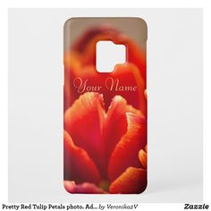 Case-Mate Samsung Galaxy S9 Case #samsungcase #samsunggalaxycase #samsunggalaxys9case This pretty floral design features a close up photo of a red tulip flower with soft looking petals and there is a place for you to add your name. Also you can delete my text. The best gift for women and girls. Click on the product to customize it. #customized #personalized #POD #artwork #giftideas #zazzle #gifts  #trendy #cool #unique #stylish #photo #photography #nature #flower #floral #red #feminine