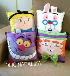 Kids Pillows, Throw Pillows, Handmade Cushions, Mad Hatter Tea, Disney Crafts, Nursery Themes, Sewing Patterns Free, Softies, Doll Toys