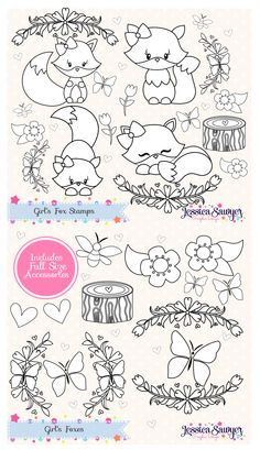 Color a Woodland Fox with Fox Digital Stamps. Use for crafts and products.