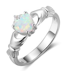 Claddagh 925 Sterling Silver Rings Heart Opal Stone Loyalty Rings For Women Silver Jewelry Fashion Gifts Silver Wedding Bands, Celtic Wedding Rings, Wedding Ring Bands, 18k Gold Jewelry, Sterling Silver Jewelry, Fine Jewelry, Gems Jewelry, Jewelry Ideas, Diamond Jewelry