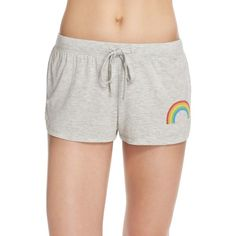 JUNKFOOD 'Rainbow' Graphic Lounge Shorts (165 CNY) ❤ liked on Polyvore featuring shorts, moon dust, rayon shorts, graphic shorts, junk food clothing and rainbow shorts