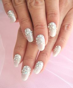 Love placement of gems in this nail design