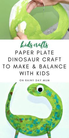 Paper Plate Dinosaur Craft and STEM Challenge for Kids Get creative and make this paper plate dinosaur and then see if you can complete the STEM challenge to get it to balance on 2 clothespin legs. Paper Plate Crafts For Kids, Animal Crafts For Kids, Crafts For Kids To Make, Christmas Crafts For Kids, Toddler Crafts, Preschool Activities, Preschool Christmas, Dinosaur Activities, Dinosaur Crafts