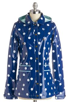 Rain Dots Keep Falling Raincoat. The pitter-patter is particularly cute when it falls in the form of white dots on your glossy navy raincoat by Yumi! #blue #modcloth