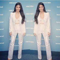 Kourtney Kardashian dans un costume blanc,#chic