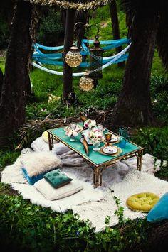Garden party in the woods.