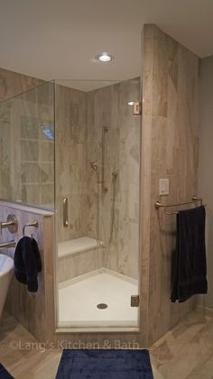 This transitional style bathroom design offers a soothing retreat with elegant design details. The angled shower featur Master Bathroom Shower, Bathroom Renos, Basement Bathroom, Bathroom Renovations, Modern Bathroom, Bathroom Showers, Vanity Bathroom, Remodel Bathroom, Budget Bathroom