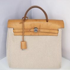 Pre-loved HERMES Herbag PM,her bag, backpack style with leather trimmings.. $579.00, via Etsy.