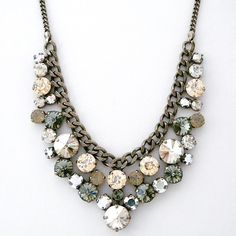 Chunky Round Crystal Cluster Necklace ~ Sorrelli Sorrelli Golden Shadow Collection. Crystal statement necklaces in neutral shades. Perfect bridal necklaces, sparkle for holiday parties & everyday attire.  $216