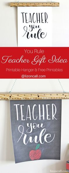 Whether it's for back to school or teacher appreciation, you can't go wrong with this teacher you rule hand lettered print and print hanger teacher gift idea.