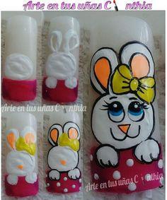 Panda Nail Art, Animal Nail Art, Easter Nail Designs, Easter Nail Art, Natural Nail Designs, Simple Nail Designs, Cartoon Nail Designs, Nail Art Designs, Nancy Nails