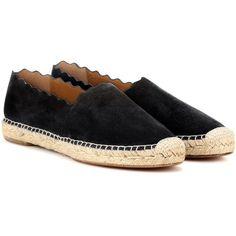 Chloé Lauren Suede Espadrilles (2.390 BRL) ❤ liked on Polyvore featuring shoes, sandals, black, espadrilles, suede leather shoes, suede shoes, chloe sandals, black suede sandals and black shoes