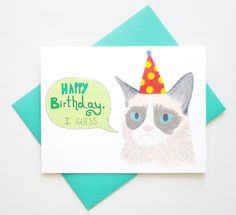 Meme Funny Sarcastic Cat Birthday Card    DESIGN:    Happy birthday...I guess. She may not seem too amused but rest assured she is smiling on the