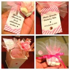 My very own DIY baby shower favors & Thank You tags, in Spanish. ;)