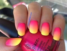 Brighten up your nails with this pink and yellow gradient polish combo.