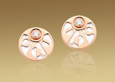 Bulgari Mediterranean Eden earrings in 18 kt pink gold with mother of pearl and pavé diamonds OR856337