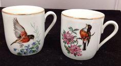 """2 Bareuther Waldsassen 3"""" Robin Bird Mugs"""