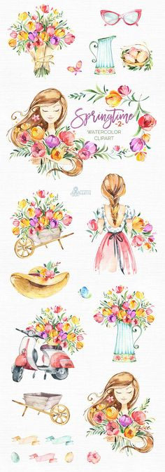 This Springtime - 2 set of hand painted watercolor illustrations. Perfect graphic for diy projects, wedding invitations, greeting cards, photos, posters, quotes and more. ----------------------------------------------------------------- This listing includes: 20 x Images in PNG with
