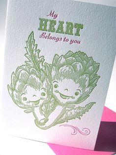cute letterpress valentine's day cart