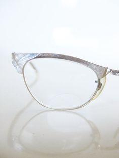 Vintage BRUSHED Brass Cat Eye Catseye Glasses Eyeglasses Optical Frames 1950 50s Fifties Mad Men