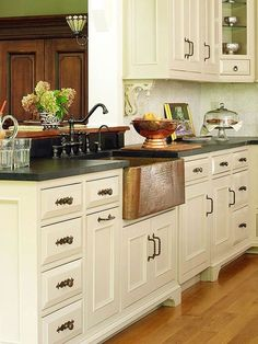 cooper sinks ideas for antique white kitchen | Copper and Metal Sinks-Perfect color on cabinets!~