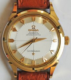 Vintage Watches Collection : STUNNING Omega Constellation Gold-Cap - Watches Topia - Watches: Best Lists, Trends & the Latest Styles Stylish Watches, Cool Watches, Rolex Watches, Vintage Watches For Men, Luxury Watches For Men, Omega Constellation, Expensive Watches, Vintage Omega, Leather Watch Bands
