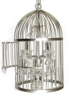 Louise Silver Birdcage Crystal Chandelier by PANGEA/home on @HauteLook