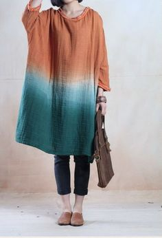 women loose fitting cotton linen dress - love the dye technique and colors