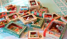 cool idea - make little Christmas dioramas out of old ornament boxes