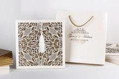 Wedding luxury laser cut white invitation with bag Vintage Wedding Invitations, Elegant Invitations, Wedding Invitation Cards, Wedding Cards, Erdem, Kirigami, Vintage Prints, Luxury Wedding, Wedding Colors