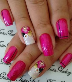 New Makeup Sencillo Yuya Ideas Fabulous Nails, Gorgeous Nails, Pretty Nails, Nail Designs Pictures, Cute Nail Designs, Pink Nail Art, Pink Nails, Stamping Nail Art, Elegant Nails