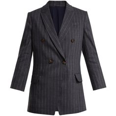 Brunello Cucinelli Double-breasted pinstriped linen-blend blazer ($3,245) ❤ liked on Polyvore featuring outerwear, jackets, blazers, grey multi, slim fit jacket, slim blazer, grey jacket, slim fit blazer and slim fit double breasted blazer