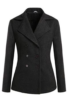 a478f3378415f Meaneor Women s Toggle Double Breasted Trench Coat Pea Winter Jacket Blazer  (XL