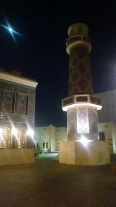 The mosque by night.