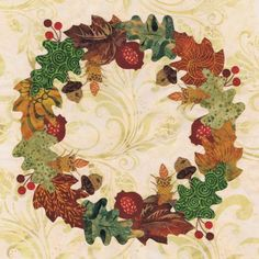 Blk # 11 Autumn Wreath for Baltimore Autumn quilt pattern by Pearl P. Pereira Designs, applique cotton