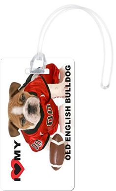 Rikki Knight I Love My Old English Bulldog Football Dog Luggage Tags White -- See this great product.Note:It is affiliate link to Amazon. #usa