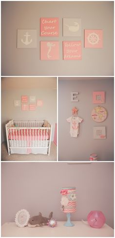 Coral and Gray Nautical Themed baby girl nursery (the gray is Voyage by Valspar)