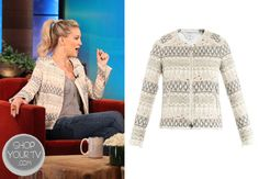 Kate Hudson wore this collarless embroidered jacket during and appearance on The Ellen DeGeneres Show.