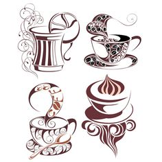 4 Decorated Coffee or Tea Cups Vector Set - http://www.dawnbrushes.com/4-decorated-coffee-or-tea-cups-vector-set-2/