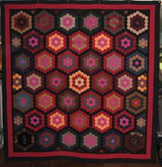 Antique Hexagon Quilt, ca 1870, spotted at eBay