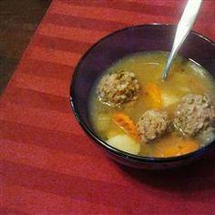 Homemade Albondigas Soup- add zucchini, oregano, 4 potatoes, cumin, onions, and tomato sauce