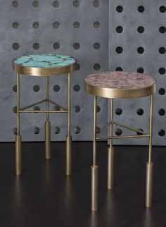 KELLY WEARSTLER | SEDONA SIDE TABLE. Burnished bronze frame with inlaid table top made from semi precious stones