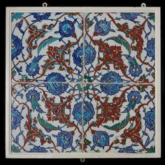 Panel of tiles | Made in Iznik, Turkey, ca. 1560-1590 | Materials: fritware, polychrome underglaze painted, glazed | In the Middle East, tilework was originally developed as a decorative cladding for brick structures. After 1400 its use spread to Turkey, where tiles were applied to stone buildings using mortar | The most accomplished type had colourful designs painted on a brilliant white ground. Tiles from the Turkish city of Iznik soon became very popular | VA Museum, London