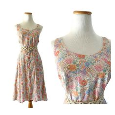 Pastel Floral Dress Floral Sundress Vintage 70s Sundress Pocket Dress Summer Boho Hippie Plus Size Dress Tent Dress Pink Floral 80s Dress XL
